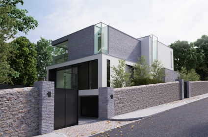 This 3 floor residence fully adopts the qualities of a steeply sloping site with views over Dublin Bay